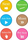 Colourful Register Now Buttons Royalty Free Stock Photography