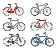Colourful retro bicycles stock photography