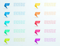 Colourful Ribbon Standing With Number Bullet Points 1 to 10. 3d colorful number bullet point ribbons 1 to 10 infographic with space for text and editable Royalty Free Stock Photo