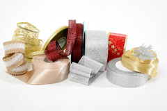 Colourful ribbons for Christmas decoration isolated Stock Photos