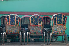 Colourful rickshaws in Kathmandu Royalty Free Stock Photo