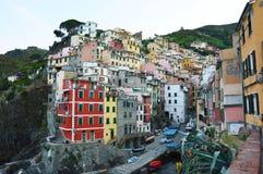Colourful Riomaggiore village in National Park Cinque Terre, Liguria, Italy Stock Photos