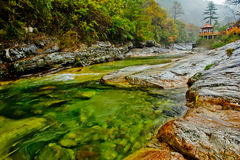 The Colourful River Bank. In Taibai county of Western China Stock Photo