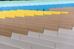 Colourful roof panels in a mall in Frankfurt. From the side Royalty Free Stock Images