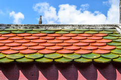 colourful roof tiles and blue sky background Stock Photo