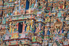 Colourful rooftop of Madurai temple Royalty Free Stock Photography