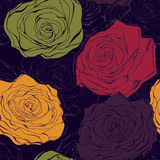 Colourful rose  seamless pattern Royalty Free Stock Photo