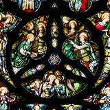 Colourful  rose  stained glass window panel in Edinburgh Royalty Free Stock Photo