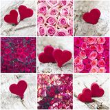 Colourful roses and hearts - collage Stock Photo