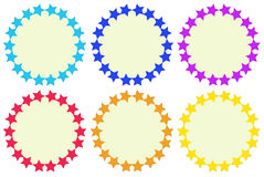 Colourful round empty templates made of stars Stock Images