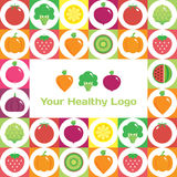 Colourful round fruit and vegetables background with place for logo or text. Vector modern illustration, stylish design element Royalty Free Stock Image