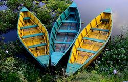 Colourful Row Boats Royalty Free Stock Photography