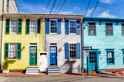 Colourful Row Houses and -Blue Sky Stock Photography
