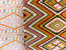 Colourful rug background divided into two sections Stock Images
