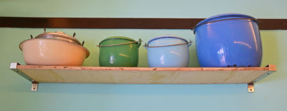 Colourful rustic Enamelware Stock Images