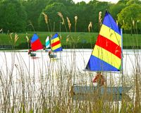 Colourful sail boats on a lake Royalty Free Stock Photo