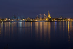 Colourful sail ships by night. Illuminated sail ship during the Tall Ships Race in Antwerp Royalty Free Stock Images