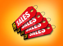 Colourful Sales Labels. 3D render of sales labels Stock Photography