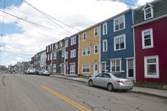 Colourful salt box homes in downtown Saint Johns Royalty Free Stock Image