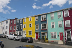 Colourful salt box homes in the Quidi Vidi district of St Johns Stock Image