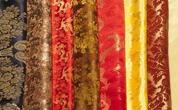 Colourful samples of silk Stock Images