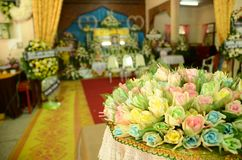Colourful Sandalwood flowers for a funeral Thailand local ceremo. Ny stock images