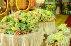 Colourful Sandalwood flowers for a funeral Thailand local ceremo. Ny stock photography