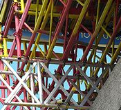 Scaffolding. Colourful scaffolding poles on a construction site in uk Stock Photo