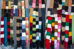 Colourful scarfs for sale at a market in Peguche in Ecuador. Royalty Free Stock Photo