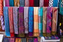 Colourful Scarves. In a Souvenir Shop Stock Photography