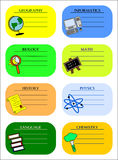 Colourful school labels Stock Images