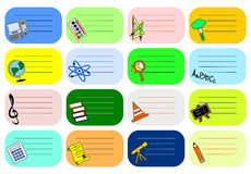 Colourful school labels Stock Photography