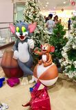 Colourful sculptures of Tom and Jerry cartoon characters. On display in a mall on Christmas Eve in Bangalore Stock Photos