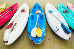 Colourful sea kayaks on the beach.Thailand Royalty Free Stock Photo
