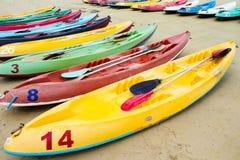 Colourful sea kayaks on the beach.Thailand Stock Photo