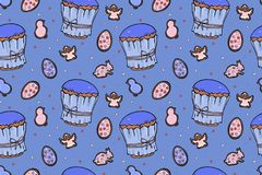 Colourful seamless Easter cakes pattern. Cute colourful seamless Easter cakes pattern with cookies in shape rabbit, chick, angel and eggs on blue background stock illustration