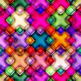 Colourful seamless mosaic. Colourful mosaic from crosses. Disco style. Seamless. Good for replicate Stock Photos