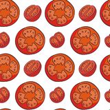 Sliced tomatoes pattern. Colourful seamless pattern in doodle style with the image of fresh vegetables. Vector background royalty free illustration