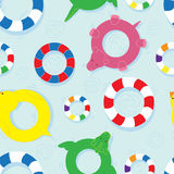 Colourful seamless pattern with life buoys Stock Photos