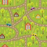 Colourful seamless pattern with streets and roads Royalty Free Stock Photography