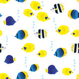Colourful Seamless Pattern With Cartoon Coral Reef Vivid Fish On White Background. Underwater Life Wallpaper. Stock Photos