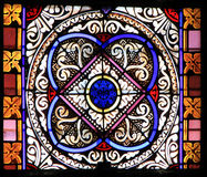 Colourful seamless stained glass in Chusclan, France Stock Photography