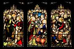 Colourful seamless stained glass window panel in Edinburgh Stock Photos