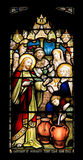 Colourful seamless stained glass window panel in Edinburgh Stock Photo
