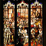 Colourful seamless stained glass window panel in Edinburgh Stock Image