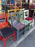 Colourful Second Hand Chairs, Plaka, Athens, Greece Stock Images