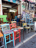Colourful Second Hand Chairs, Plaka, Athens, Greece Royalty Free Stock Image