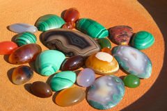 Colourful semiprecious stones background Royalty Free Stock Photo