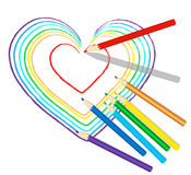 Colourful serca nakreślenie z ołówkami ilustracji