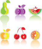Colourful set from the stylised fruit Stock Image